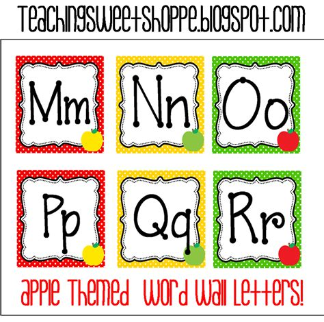 printable letters of the alphabet for word wall the teaching sweet shoppe apple themes word wall cards