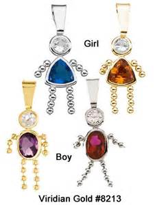 Birthstone boy amp girl charm pendants in 14k yellow or white gold 8213
