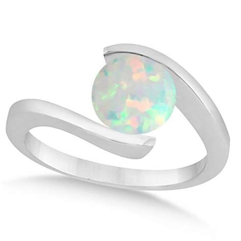 Tension Engagement Rings by Tension Set Solitaire Opal Engagement Ring 14k White Gold