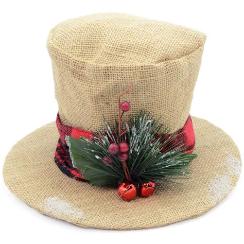 burlap christmas holly top hat decoration 6 5 quot 3352344