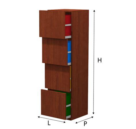 mobile a cassetti mobile a colonna per la raccolta differenziata con 4 cassetti