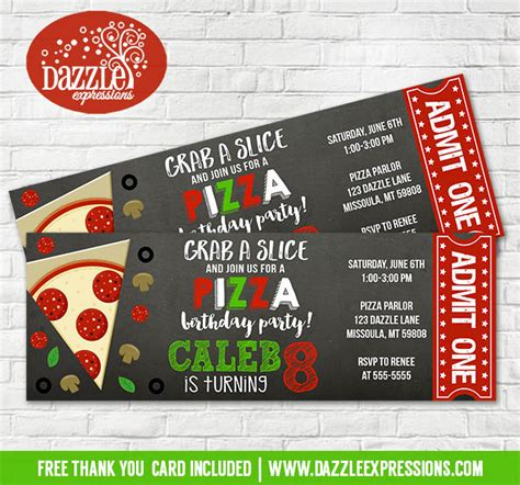 printable pizza tickets printable chalkboard pizza party ticket birthday