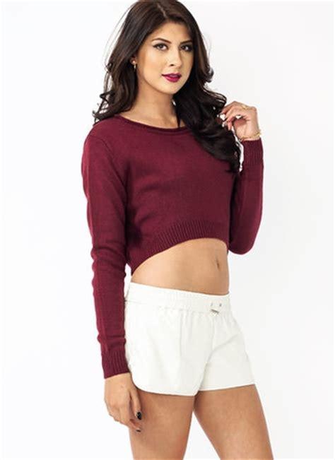 gj high low cropped sweater 38 40 in black burgundy sweaters gojane