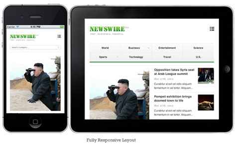 responsive layout iphone newswire responsive wordpress magazine theme mojo themes