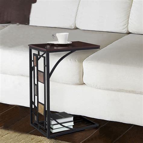sofa accent tables c shaped table for sofa slide in side table over couch arm