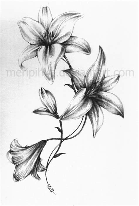 white lily tattoo 2 by meripihka deviantart on deviantart