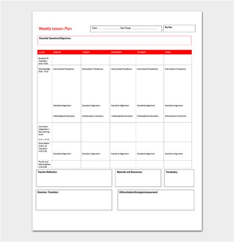 weekly lesson plan template doc lesson plan template 5 daily weekly monthly for word