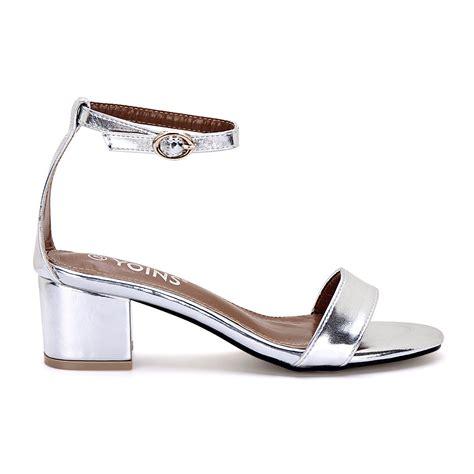 Vincci Heels Silver Sandal Polos by Silver Metallic Block Heel Ankle Closure Sandals