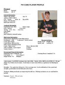 baseball resume template best photos of athlete bio template football player