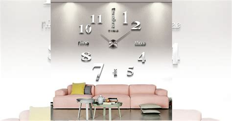 amazon large silver  frameless wall clock