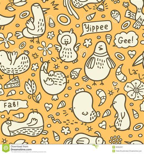 doodle bird free vector yellow doodle birds pattern royalty free stock