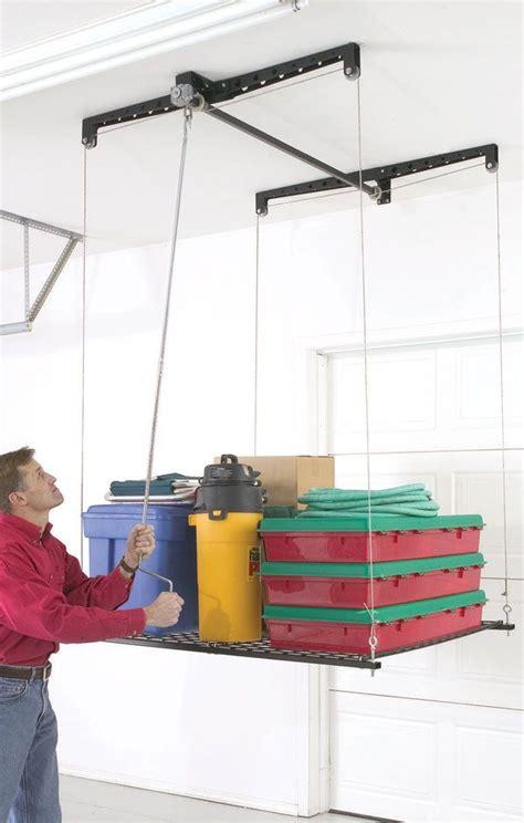 Garage Ceiling Storage Lift by Best 25 Overhead Storage Ideas On Diy Garage