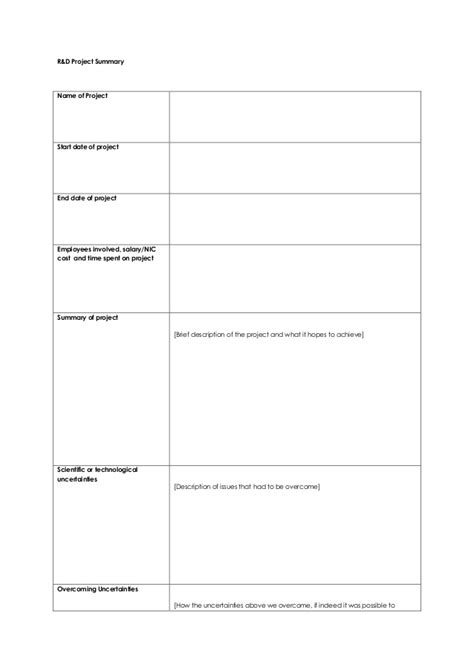 r d report template exle r d project sheet