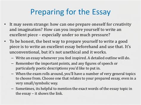 Preparing To Write An Essay by Success In Creative Writing Exams