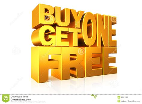 one free 3d gold text buy 1 get 1 free stock illustration image