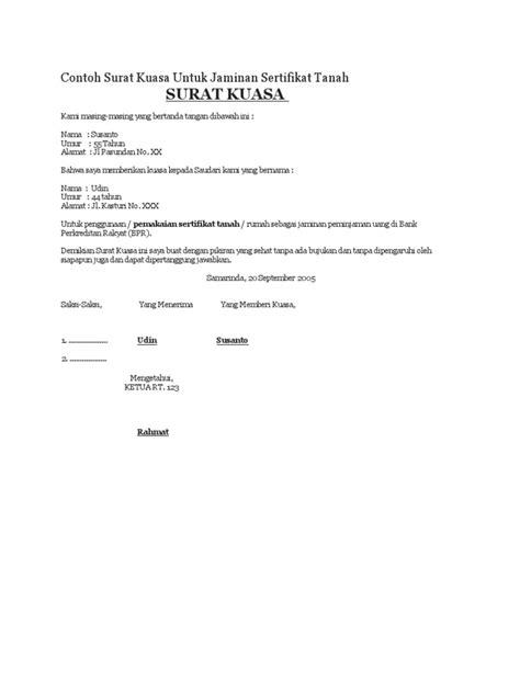 format surat kuasa untuk pengacara contoh surat kuasa untuk jaminan sertifikat tanah