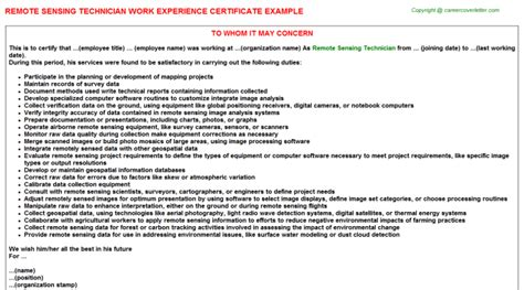 Remote Worker Cover Letter by Remote Sensing Technician Work Experience Certificates
