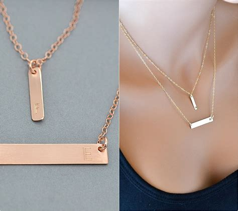 gold bar necklace layered necklace initial necklace