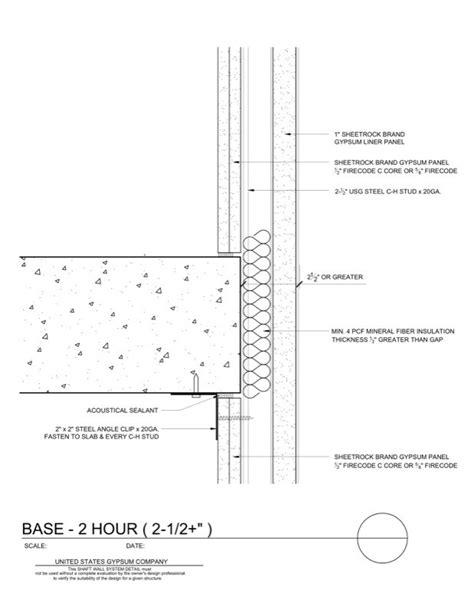 1 Hr Concrete Floor With Wood Framing - usg design studio 09 21 16 23 164 shaft wall