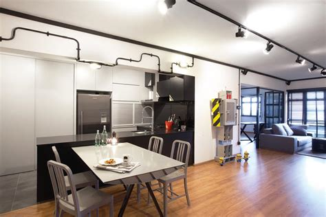 Bi Level Kitchen Designs by An Industrial Hdb Flat That S More Sleek Than Rough Home