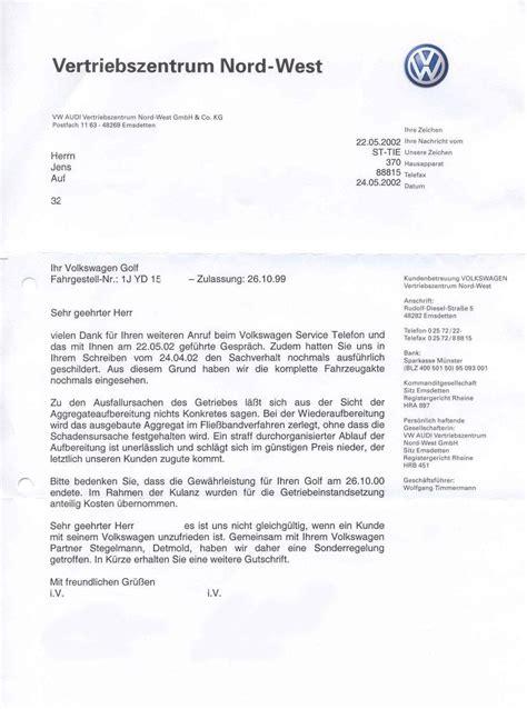 Beschwerde Brief Autohaus 252 Leiste