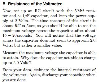 how to discharge capacitor with voltmeter suppose you make a plot of ln v cap vs time for a chegg