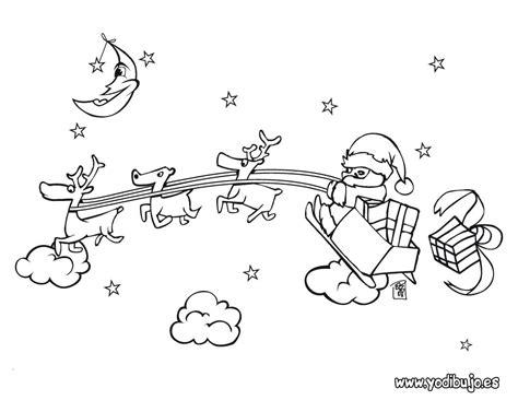 imagenes de santa claus con sus renos para colorear dibujos para colorear pap 225 noel con su trineo es