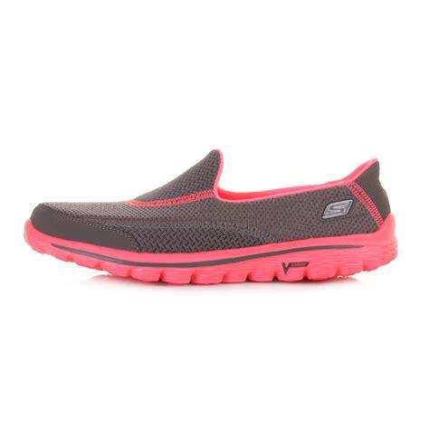 womens skechers go walk 2 illumination grey pink comfort