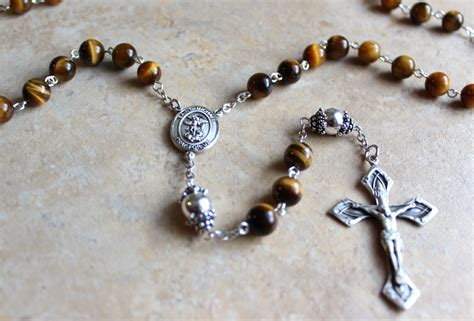 beaded rosary handmade tigers eye rosary with sterling bead caps