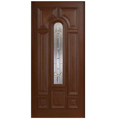 Solid Wood Front Doors With Glass Door 36 In X 80 In Mahogany Type Arch Glass Prefinished Antique Beveled Brass Solid Wood