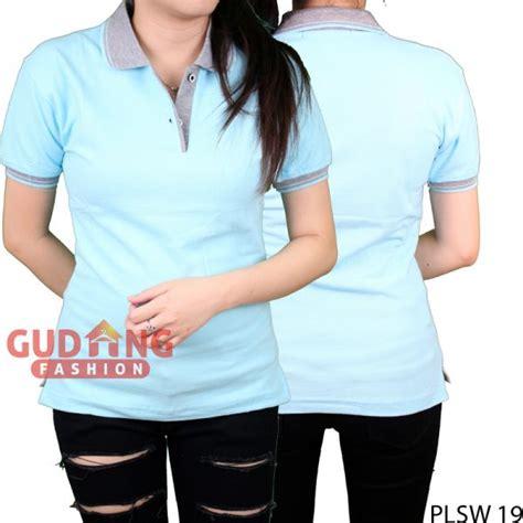 Kaos Polo Wanita Plsw 01 kaos polo kerah pendek wanita cotton pique biru