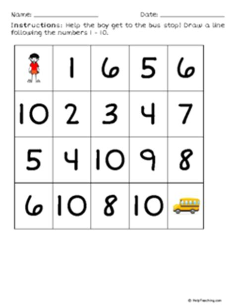 sequence numbers 1 10 printable number sequence maze 1 to 10 kindergarten free