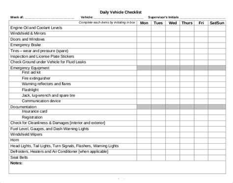 printables template of a vehicle check in list