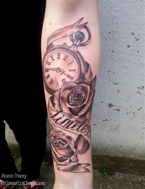 pocket watch with roses tattoo pocket and roses based artist
