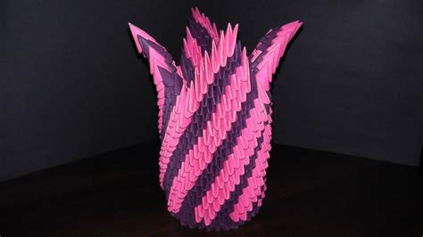 How To Make A 3d Origami Flower Vase - 3d origami paper flower vase with their master class