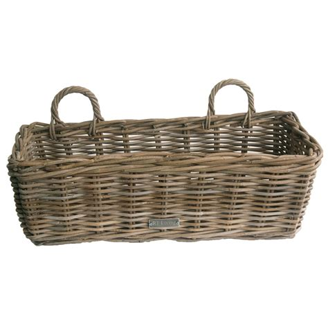 window box baskets grey wicker window box planter in 2 sizes