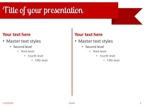 Red Ribbon Banner Powerpoint Template Powerpoint Banner Template