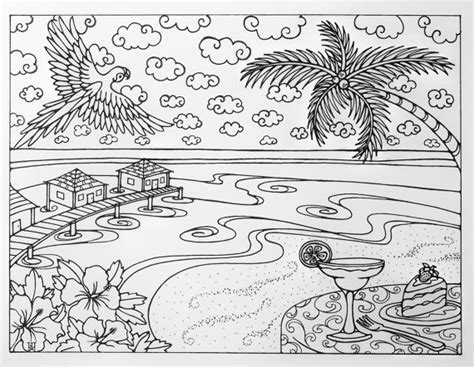 tropical landscape coloring page tropical beach vacation adult coloring page by