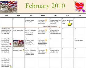 February 2010 Calendar Vistoso Community Church Calendar February 2010