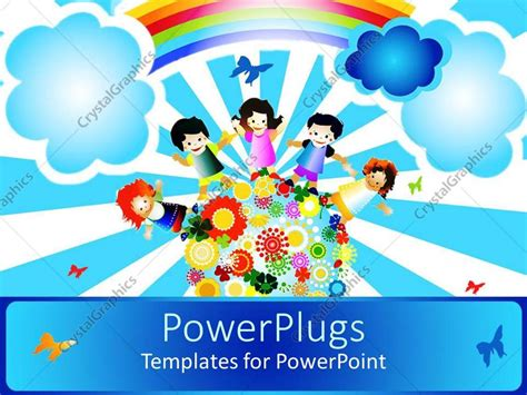 Powerpoint Template A Painting Of Four Happy School Kids Standing On An Earth With Flowers 15736 Powerpoint Templates For Children