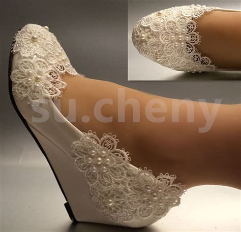 Lace Wedge Wedding Shoes by 1 Quot 2 Quot White Ivory Pearls Lace Snowflakes Wedges Wedding