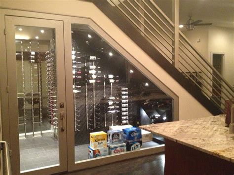under stair wine cellar contemporary wine cellar