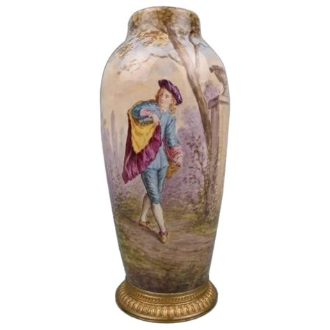 Figure Vase by Mp S 232 Vres Pottery Bronze Mounted Vase With A Painted