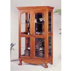 Oak Console Curio Cabinet Curio Cabinets Solid Oak Curio Cabinet With Doors