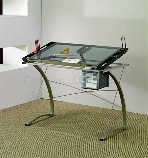 Glass Top Metal Base Modern Drafting Home Office Desk Drafting Table Office Depot