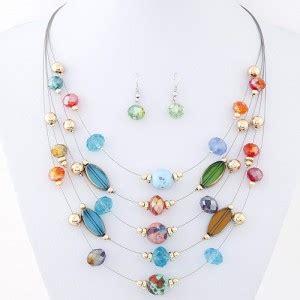 Kalung Fashion Korea Choker Multi Layer 1 korean style multi layer costume necklace and earrings set multicolor