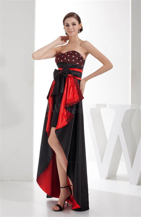Black Dresses Hi Lo Prom Gown black sweetheart zip up hi lo rhinestone prom dresses