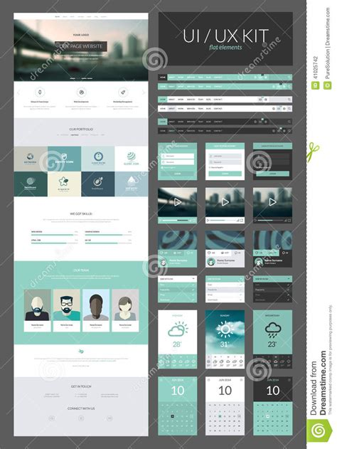 ux design templates one page website design template stock illustration