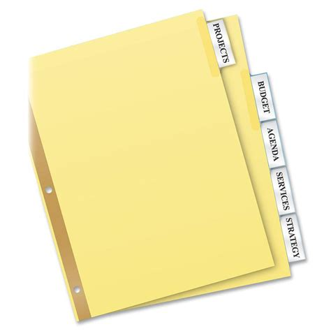 avery 11110 template avery big tab insertable dividers 5 tab clear ld products