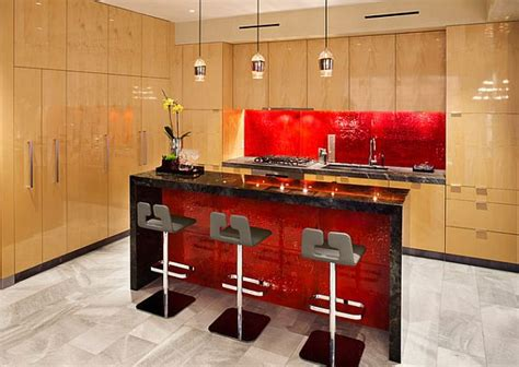 Red Backsplash For Kitchen | modern kitchen with red accent backsplash and island decoist
